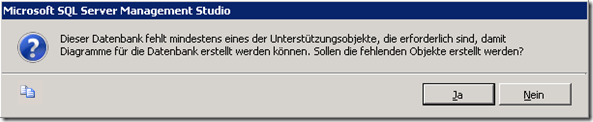 SQL Server Management Studio: Datenbankdiagramme - die Ursache